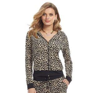 Juicy Couture Leopard Velour Hoodie  Women's Sz S